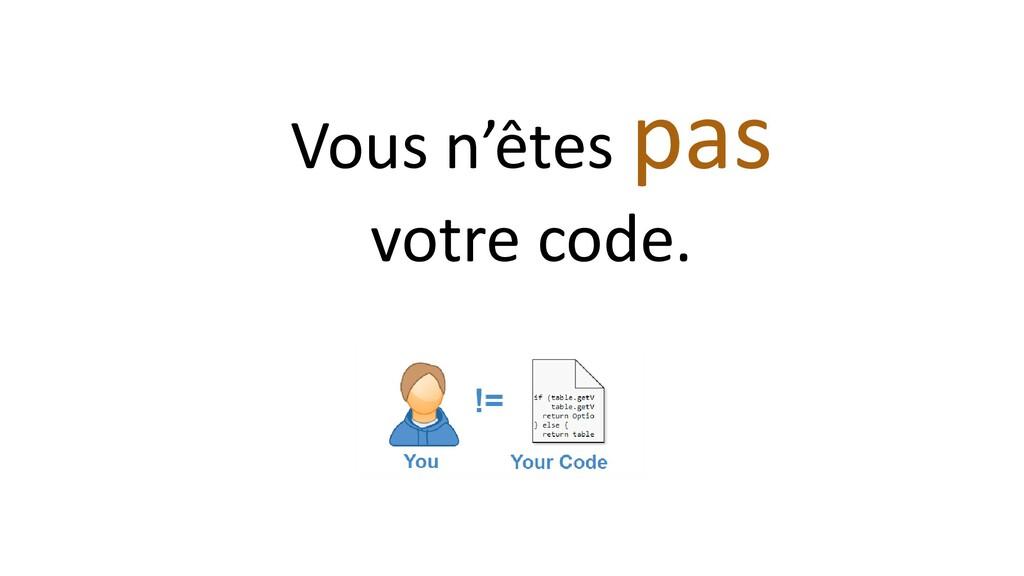 Vous n'êtes pas votre code.