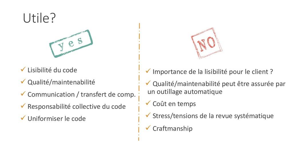 Utile?  Lisibilité du code  Qualité/maintenab...