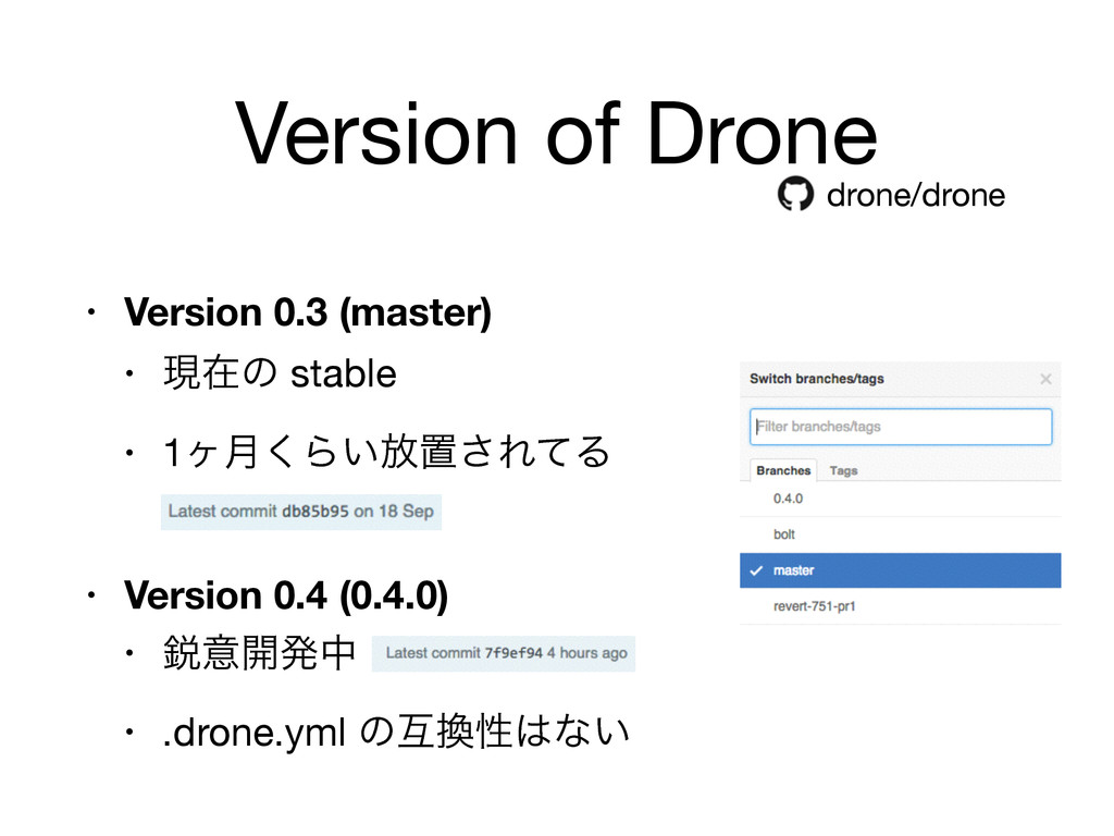 Version of Drone • Version 0.3 (master) • ݱࡏͷ s...