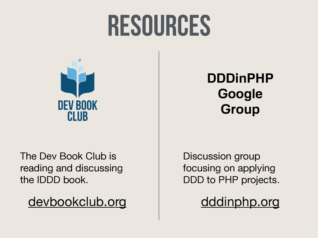 DDDinPHP Google Group Resources The Dev Book Cl...