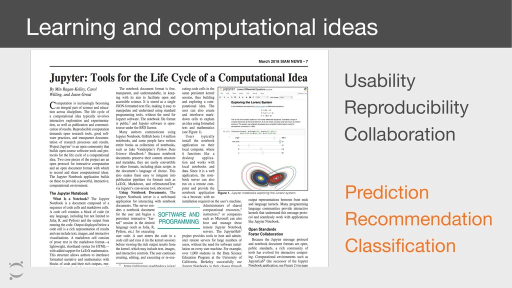 Learning and computational ideas Usability  Rep...