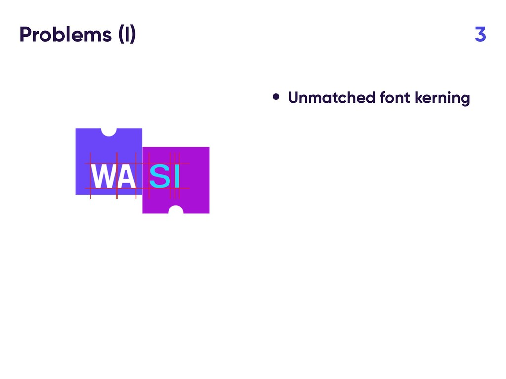 Problems (I) 3 • Unmatched font kerning