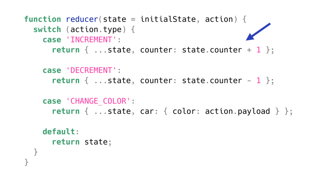 function reducer(state = initialState, action) ...