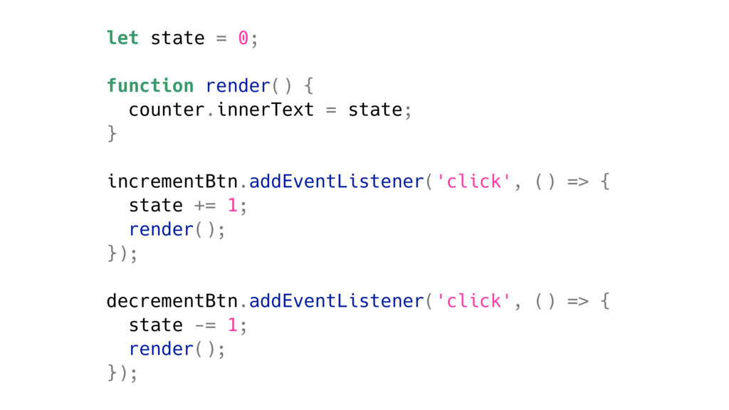 let state = 0; function render() { counter.inne...