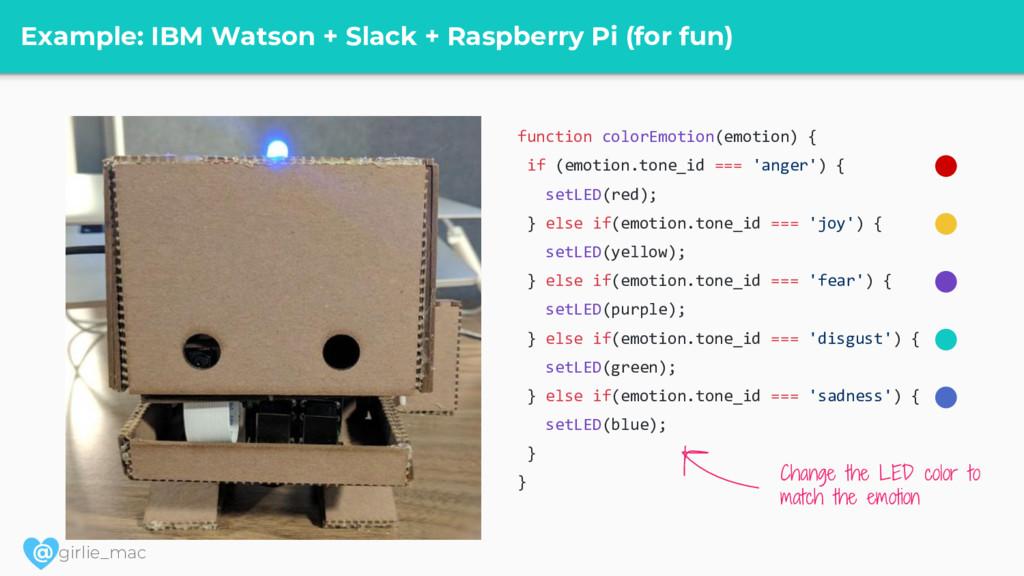 @ girlie_mac Example: IBM Watson + Slack + Rasp...