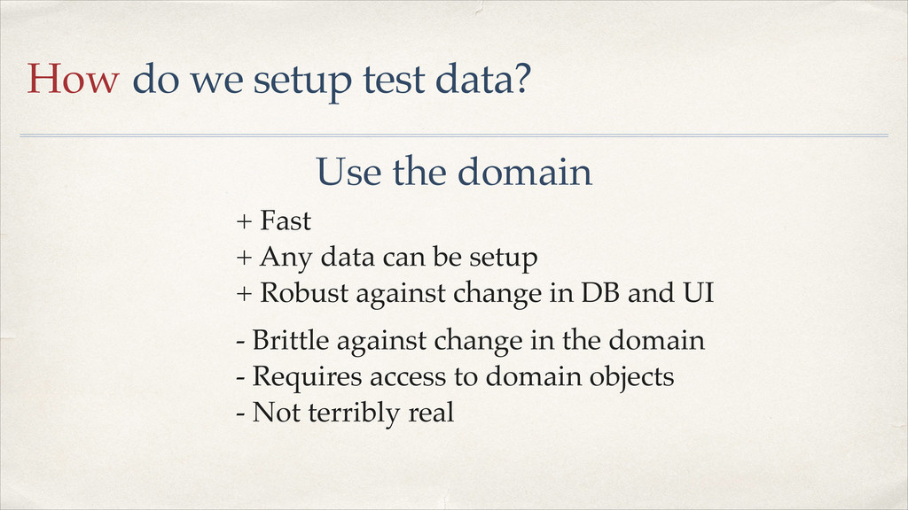 How do we setup test data? Use the domain + Any...