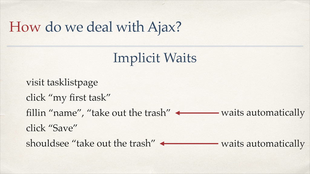 How do we deal with Ajax? Implicit Waits visit ...