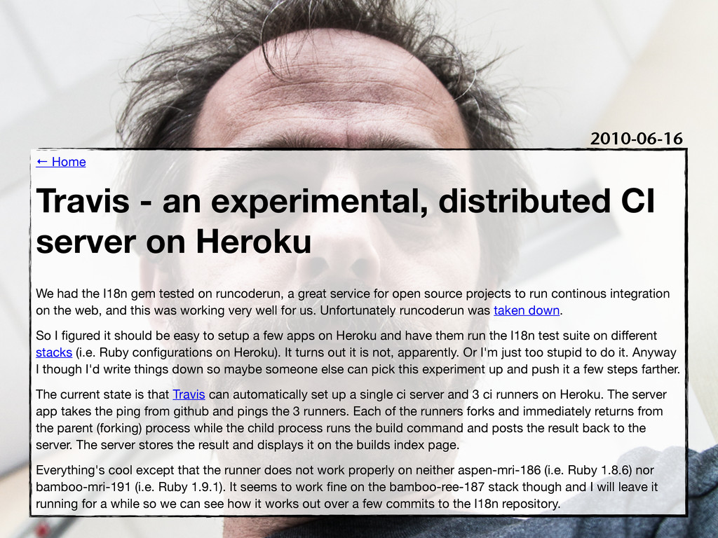 ← Home Travis - an experimental, distributed CI...