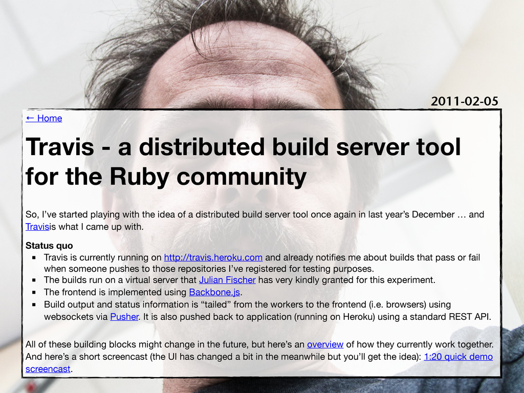 ← Home Travis - a distributed build server tool...