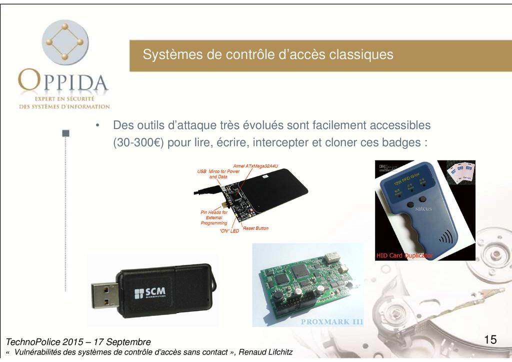 Systèmes de contrôle d'accès classiques • Des o...