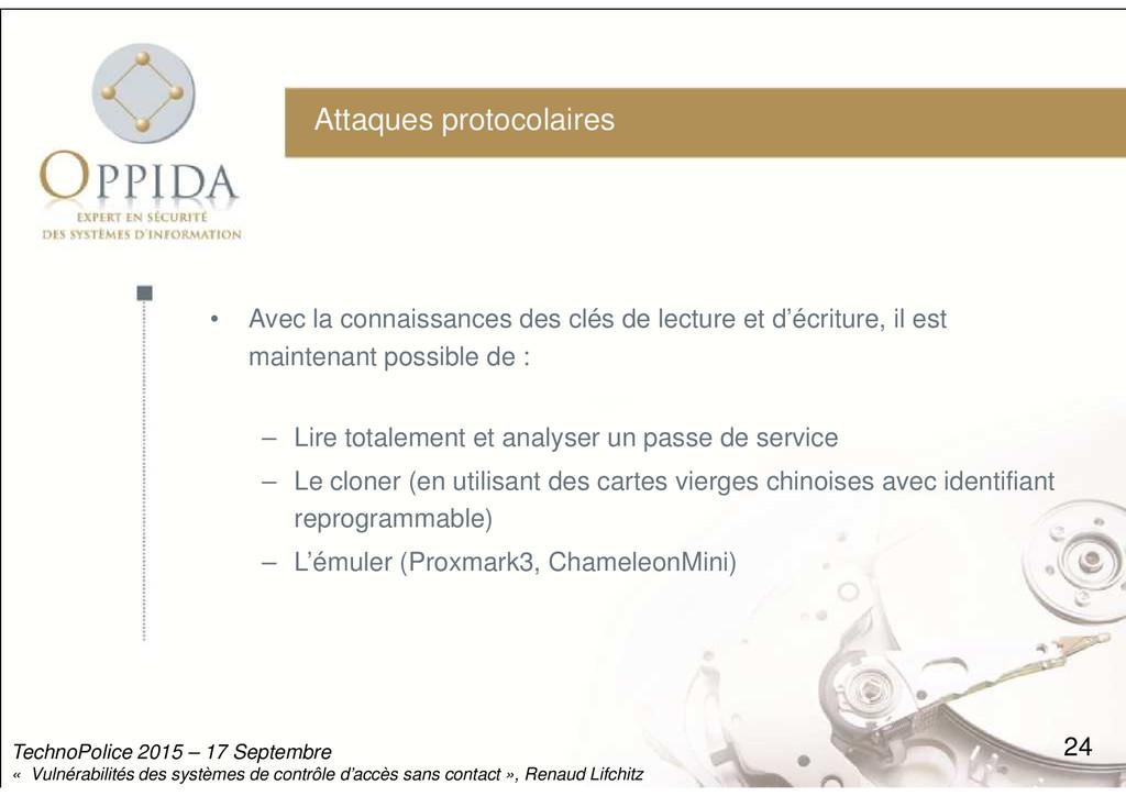 Attaques protocolaires • Avec la connaissances ...