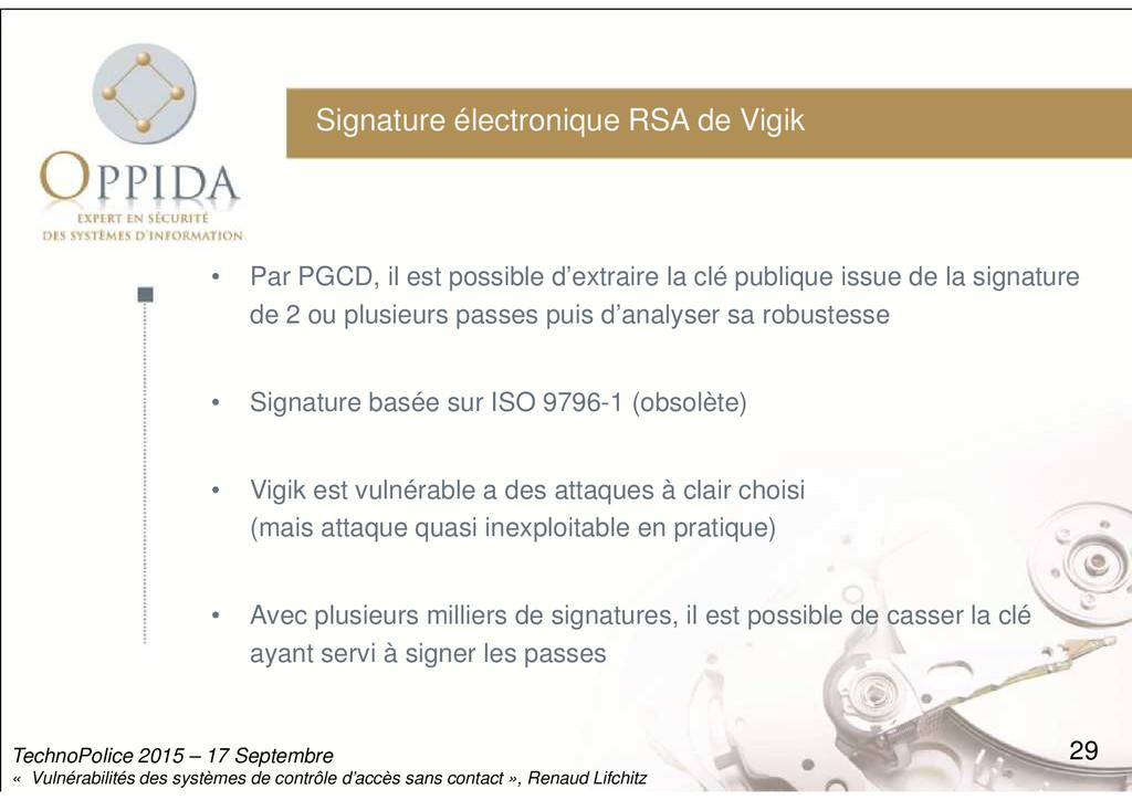 Signature électronique RSA de Vigik • Par PGCD,...