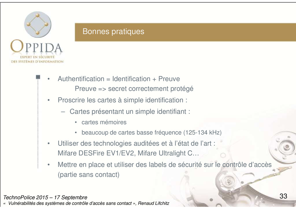 Bonnes pratiques • Authentification = Identific...