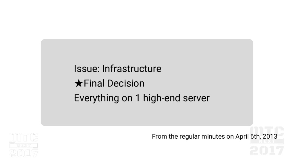 Issue: Infrastructure ★Final Decision Everythin...