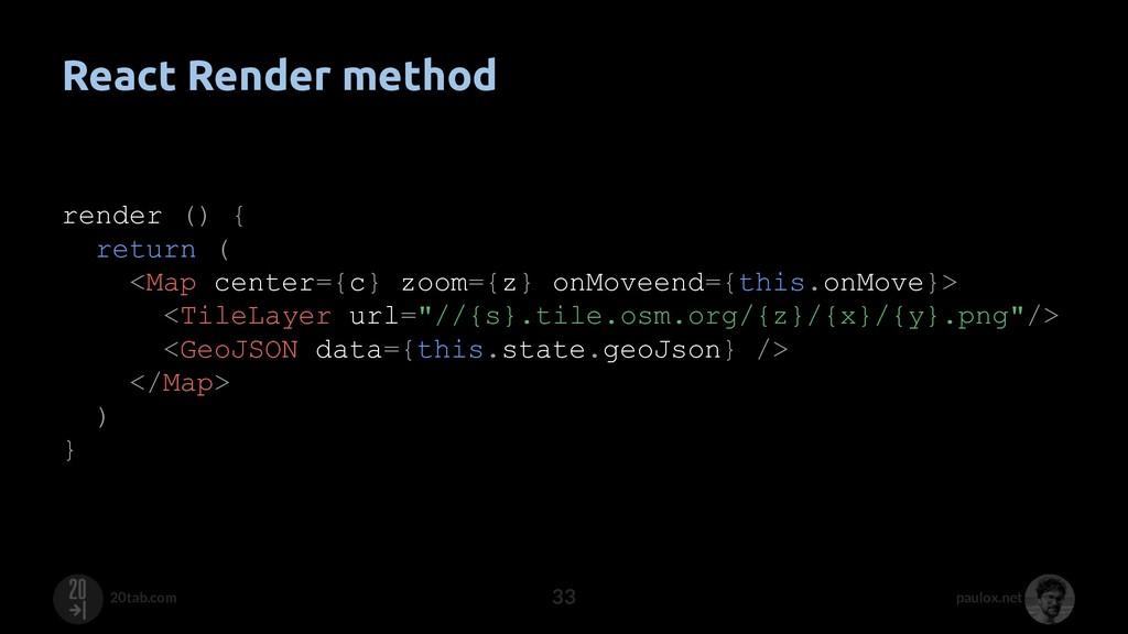 paulox.net 20tab.com React Render method render...