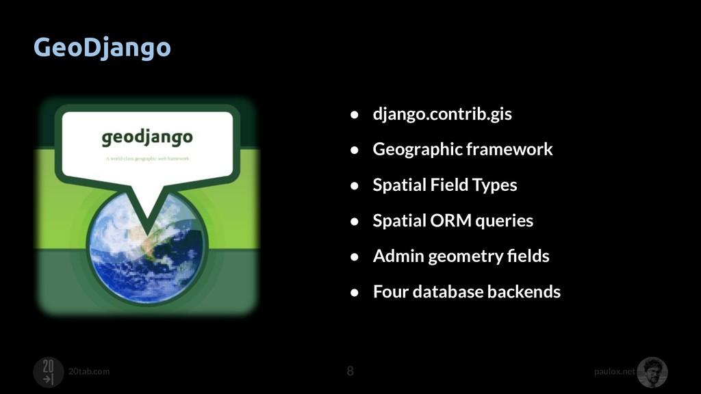 paulox.net 20tab.com GeoDjango 8 ● django.contr...