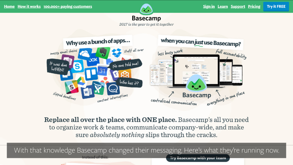 With that knowledge Basecamp changed their mess...