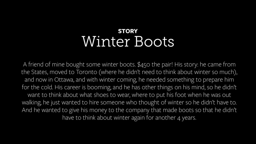 Winter Boots STORY A friend of mine bought some...