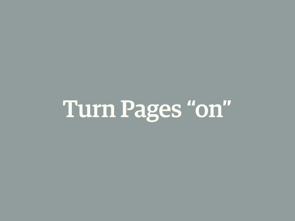 "Turn Pages ""on"""