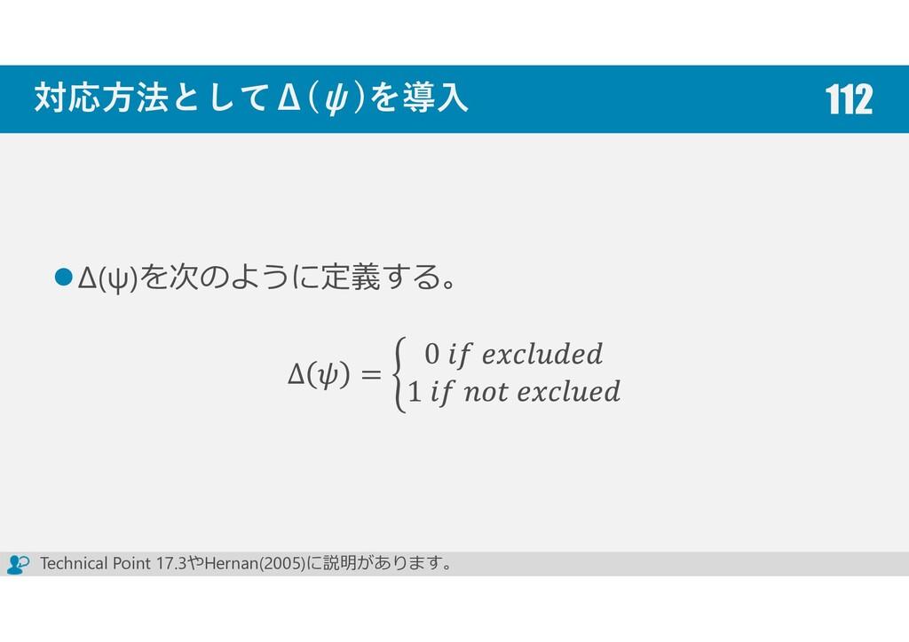 対応方法としてΔ(ψ)を導入 Δ﴾ψ﴿を次のように定義する。 Δ = 0 1 112 Tech...