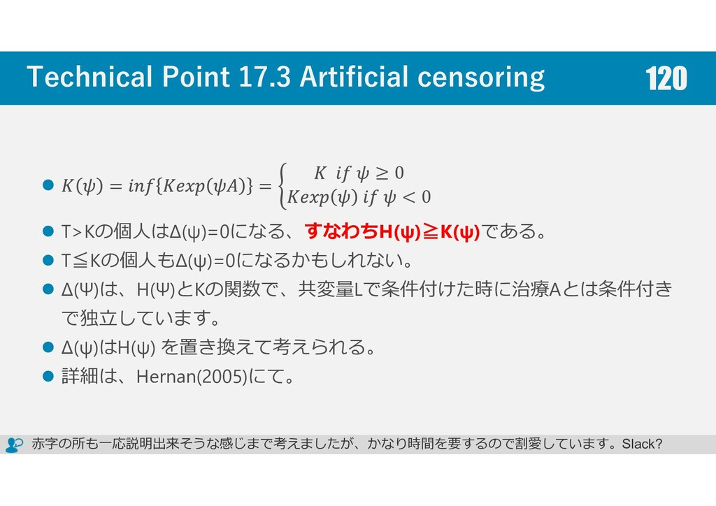 Technical Point 17.3 Artificial censoring = = ≥...