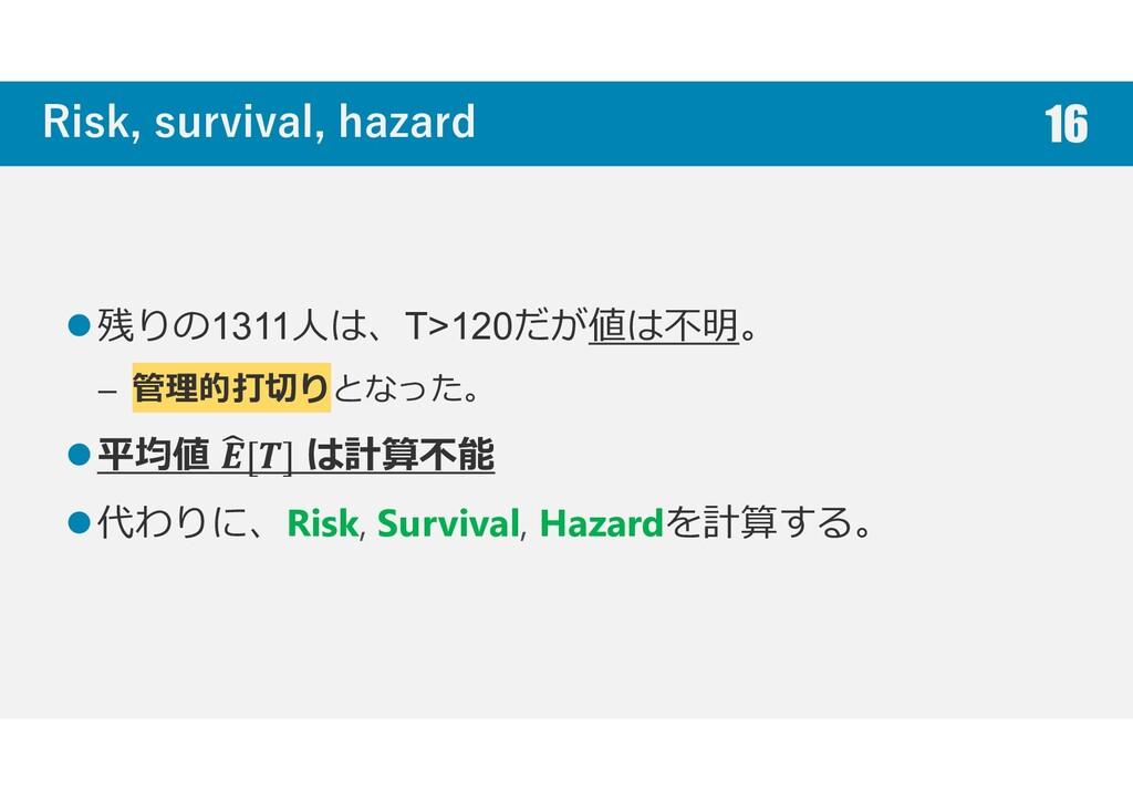 Risk, survival, hazard 残りの1311人は、T>120だが値は不明。 –...
