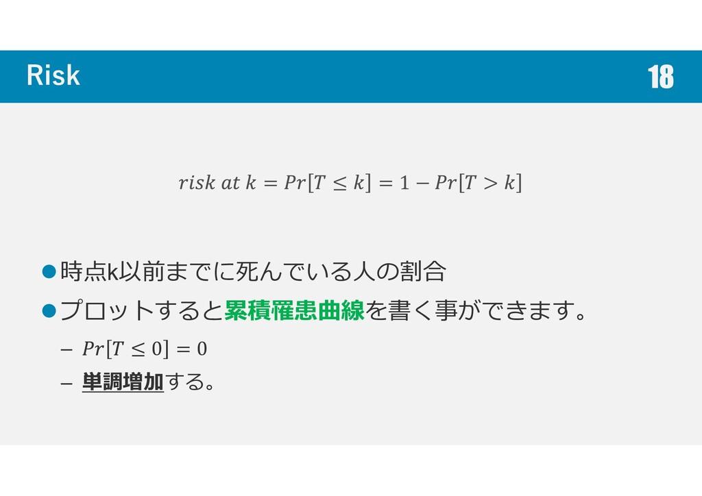 Risk 時点k以前までに死んでいる人の割合 プロットすると累積罹患曲線を書く事ができます。 ...