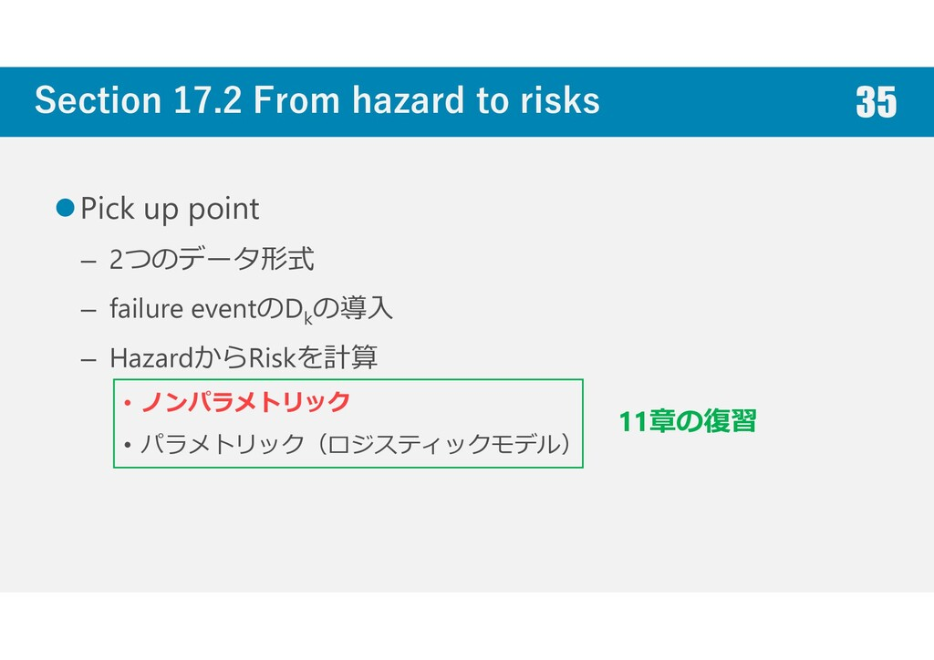 Section 17.2 From hazard to risks Pick up point...