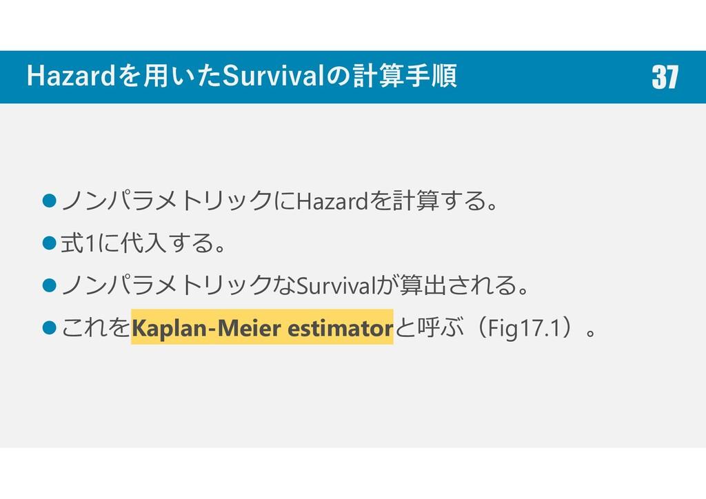 Hazardを用いたSurvivalの計算手順 ノンパラメトリックにHazardを計算する。 ...