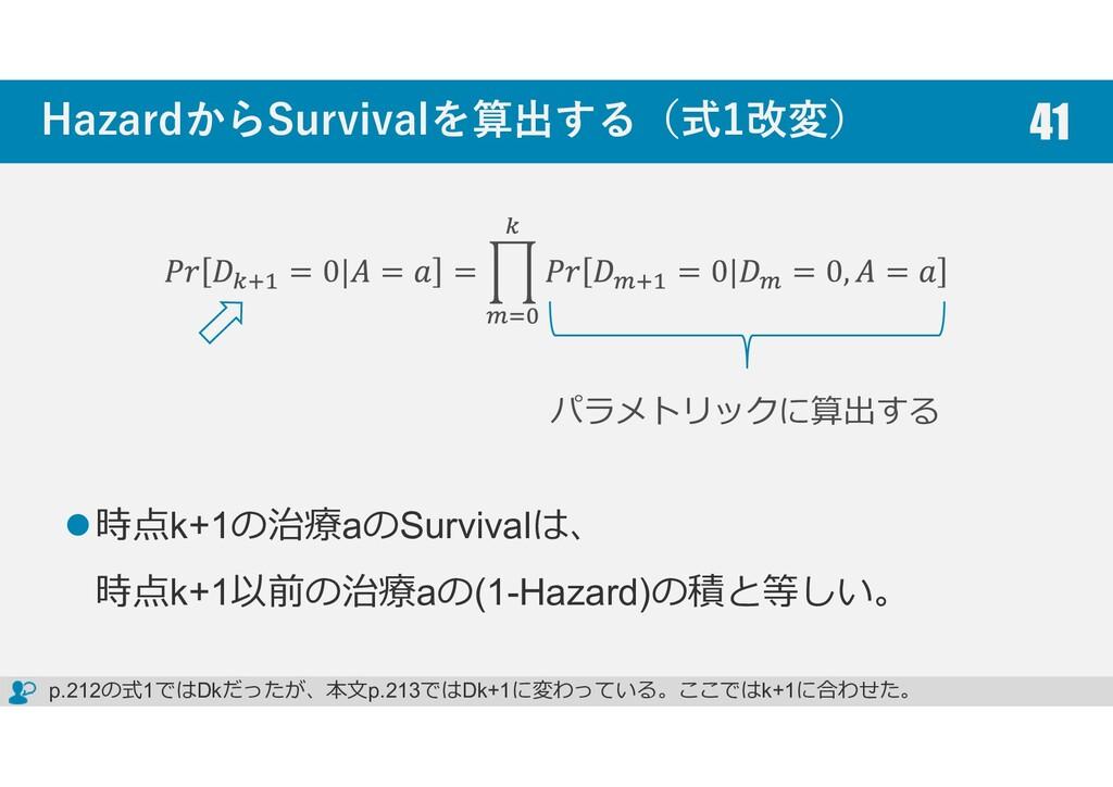 HazardからSurvivalを算出する(式1改変) 時点k+1の治療aのSurvivalは...