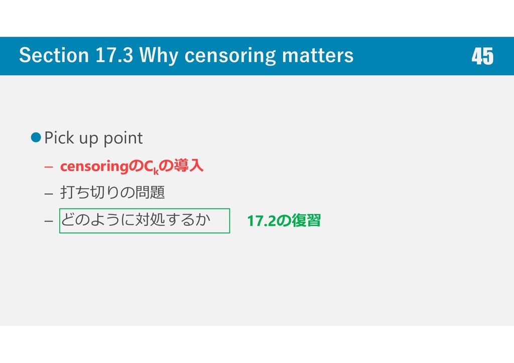 Section 17.3 Why censoring matters Pick up poin...
