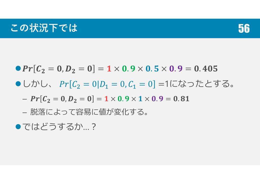 この状況下では = , = = × . × . × . = . しかし、 = 0| = 0, ...