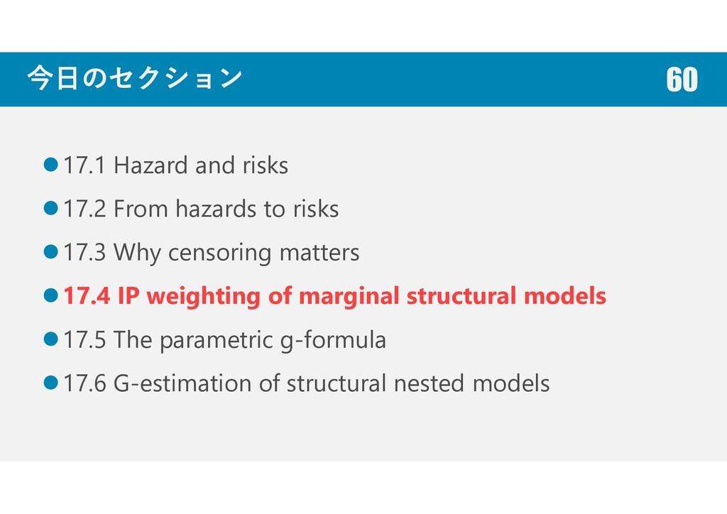 今日のセクション 17.1 Hazard and risks 17.2 From hazard...