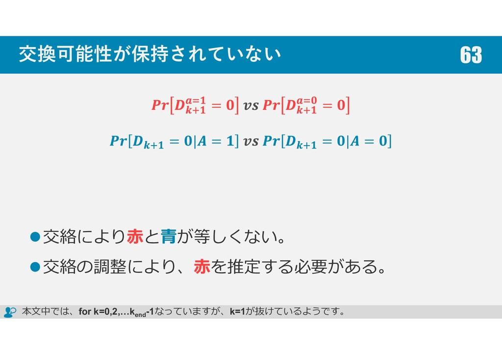 交換可能性が保持されていない 交絡により赤と青が等しくない。 交絡の調整により、赤を推定する必...