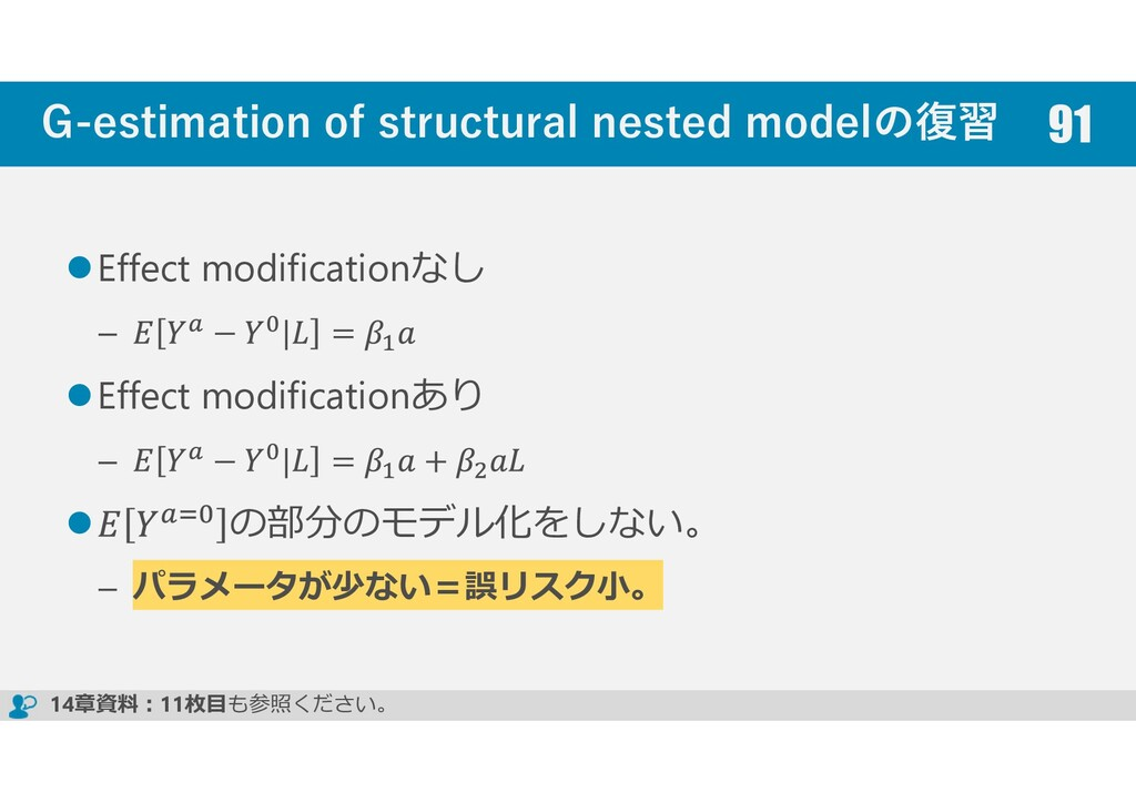G-estimation of structural nested modelの復習 Effe...