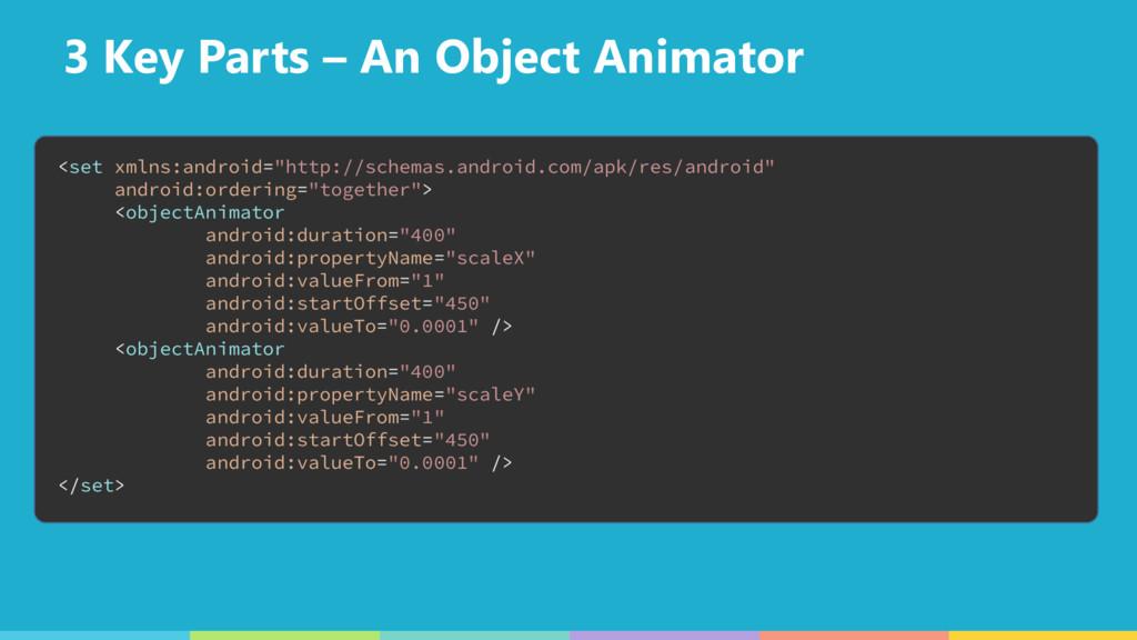 3 Key Parts – An Object Animator <set xmlns:and...