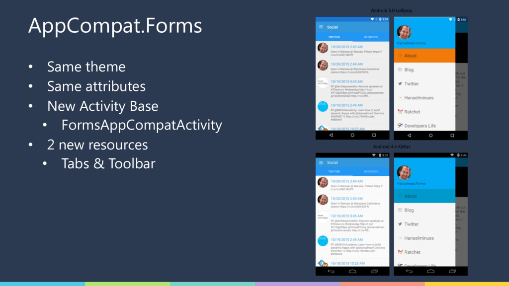 AppCompat.Forms • Same theme • Same attributes ...