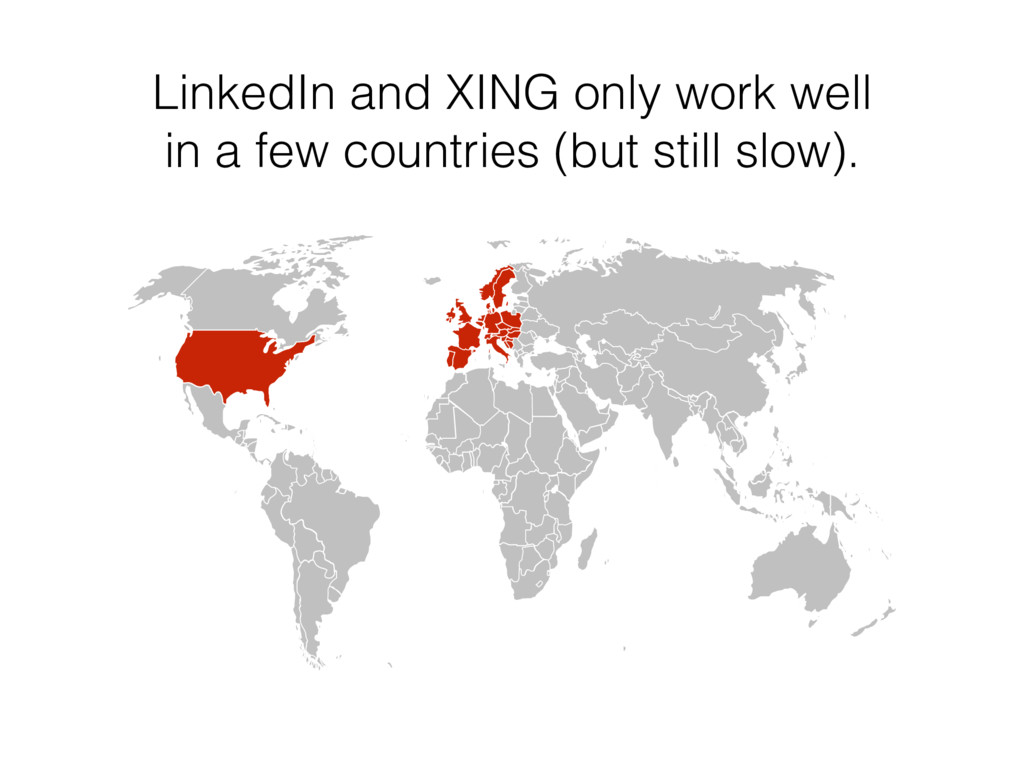 LinkedIn and XING only work well 