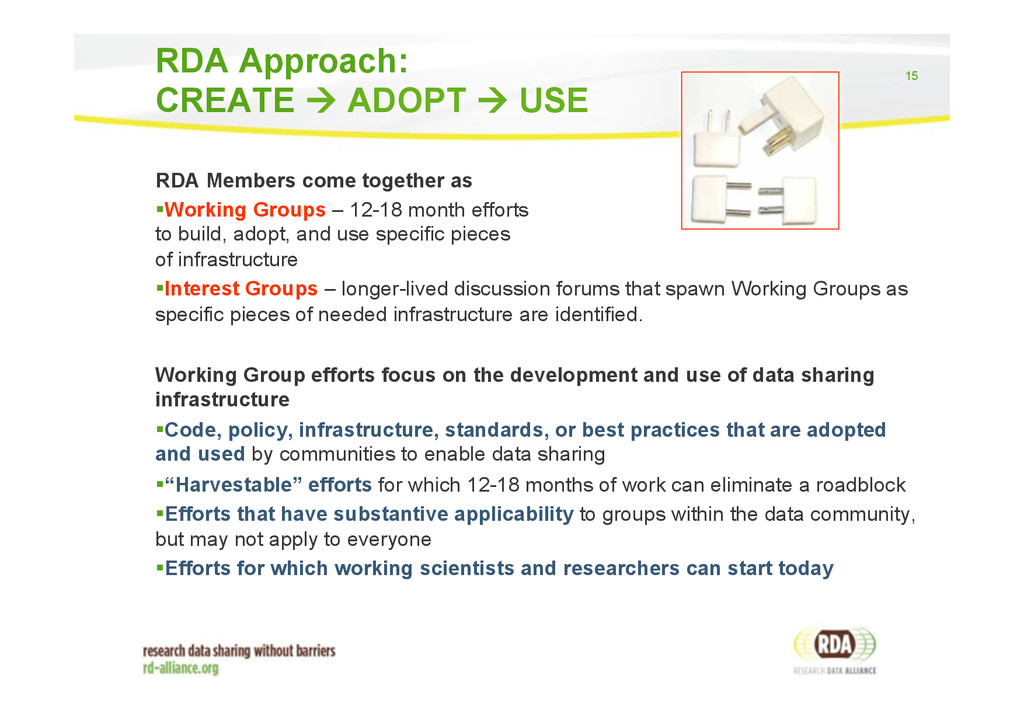 15 RDA Members come together as ! Working Group...