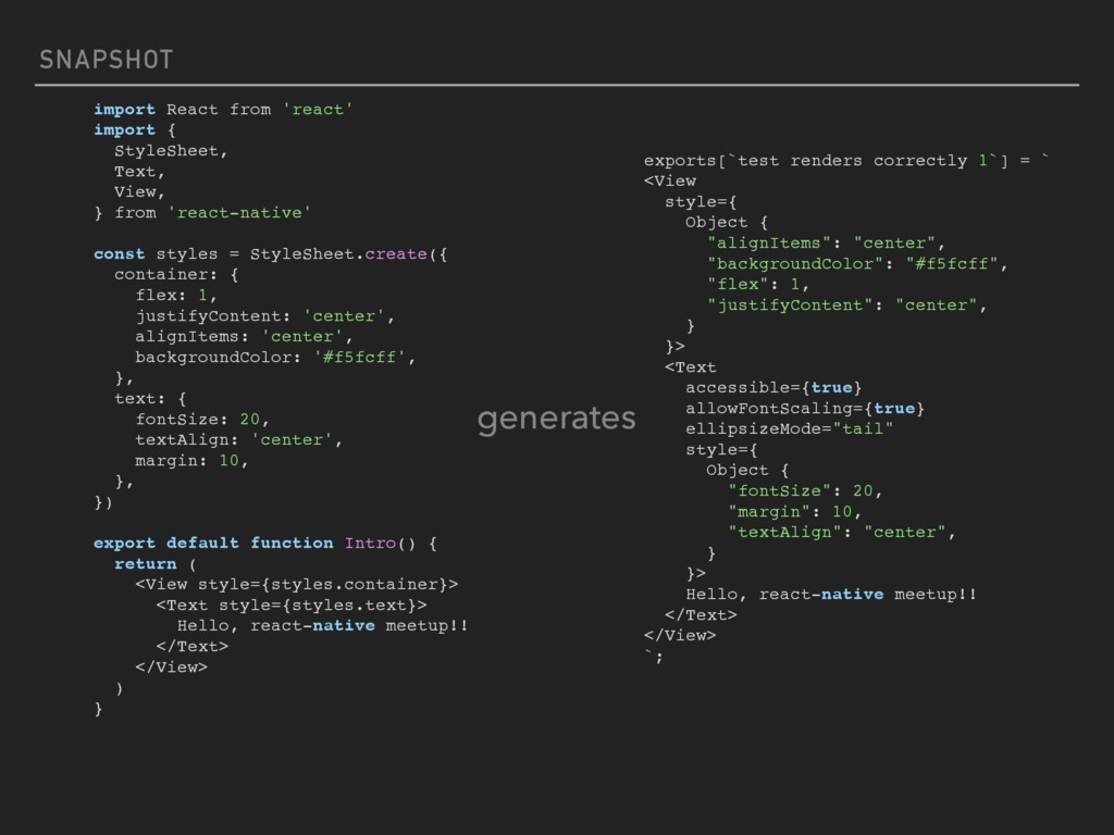 SNAPSHOT import React from 'react' import { Sty...