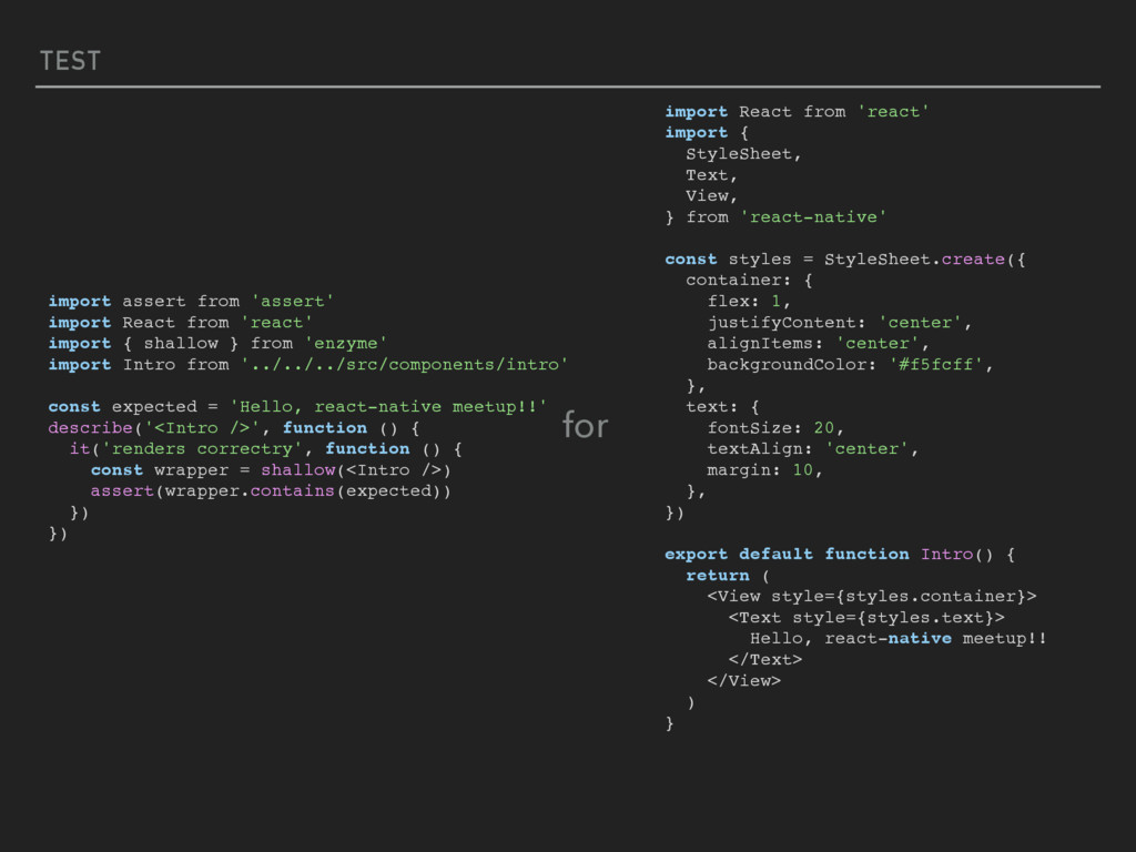 TEST import React from 'react' import { StyleSh...