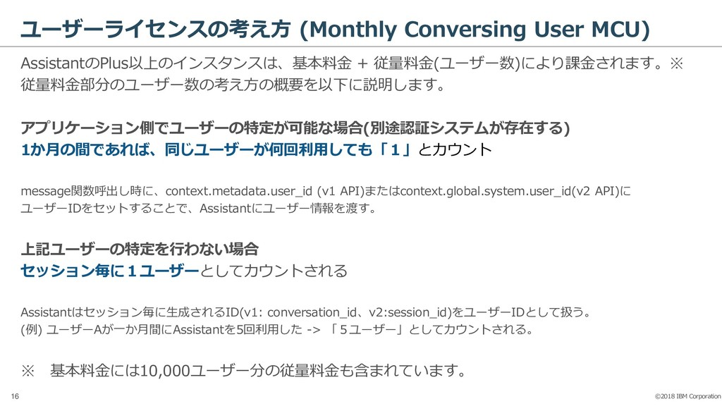 ©2018 IBM Corporation 16 ユーザーライセンスの考え方 (Monthly...