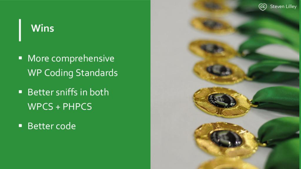 Wins  More comprehensive WP Coding Standards ...