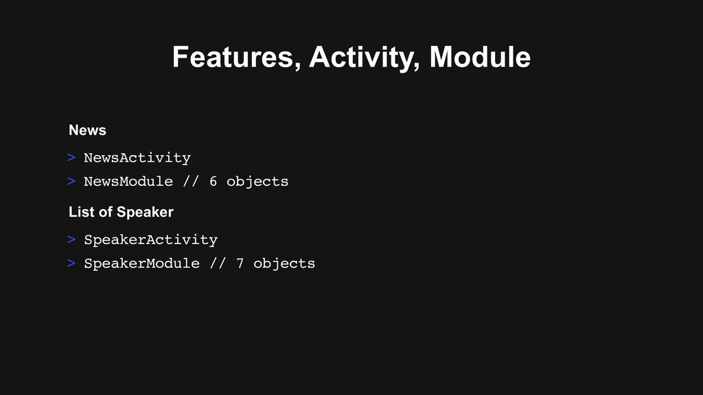 > SpeakerActivity > SpeakerModule // 7 objects ...