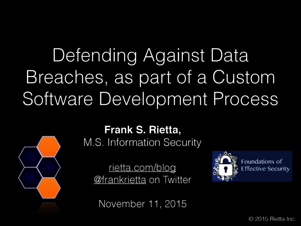 Frank S. Rietta,  M.S. Information Security ri...