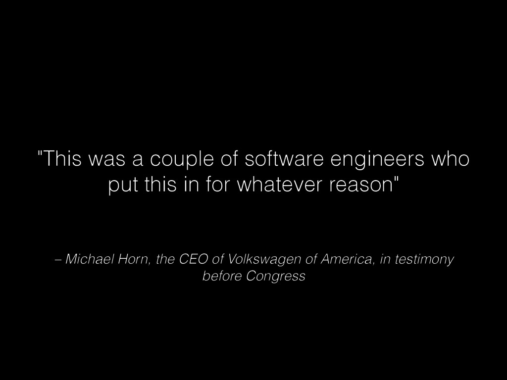 – Michael Horn, the CEO of Volkswagen of Americ...