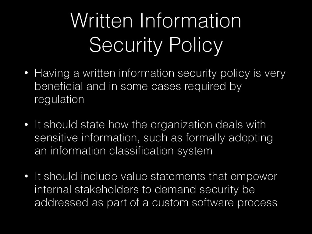 Written Information  Security Policy • Having ...