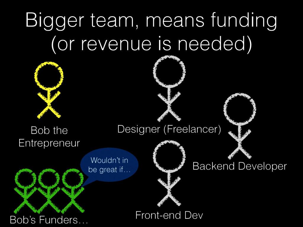 Bigger team, means funding (or revenue is neede...