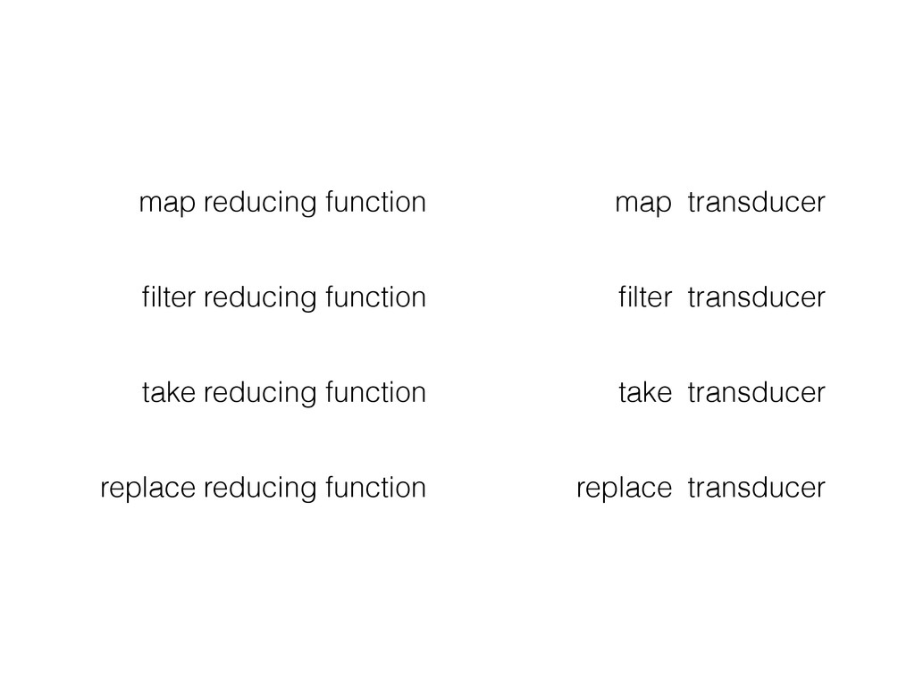 map reducing function map transducer filter redu...