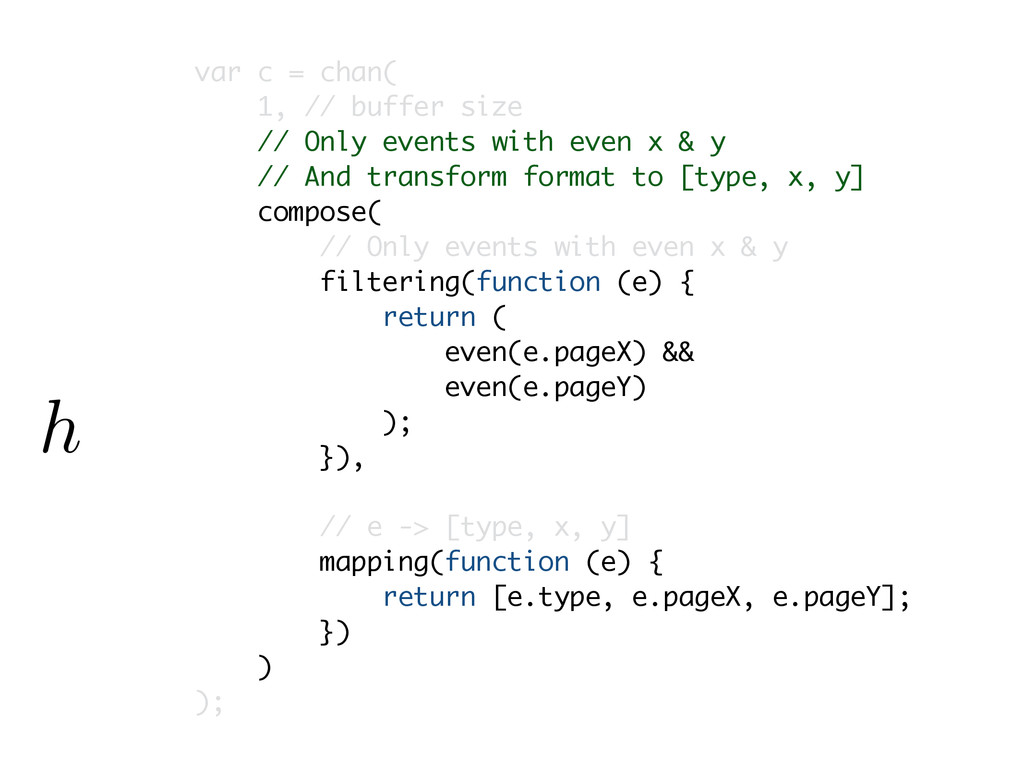 var c = chan( 1, // buffer size // Only events ...